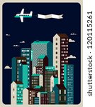 vintage airplane in the sky vector/ building illustration/ cityscape background/ - stock vector