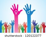 colourful hands with male and... | Shutterstock .eps vector #120122377