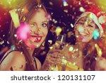 portrait of two beautiful girls ...   Shutterstock . vector #120131107