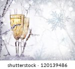 Two Champagne Glasses. New Year. - stock photo