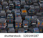 many paks of books  stacked in... | Shutterstock . vector #120144187