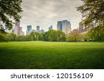 Central park at rainy day, New York City - stock photo
