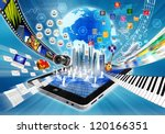 Conceptual image about how a smart phone or a tablet computer with internet open a virtual door to worldwide information and multimedia sharing. - stock photo