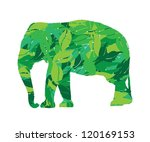 elephant silhouette in leaves...