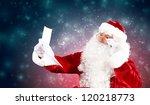 santa holding christmas letters ... | Shutterstock . vector #120218773