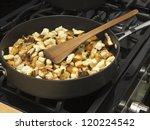 fresh cut sauteed stove top croutons - stock photo