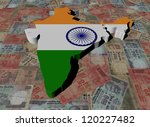 India Map flag on Indian Rupees illustration - stock photo