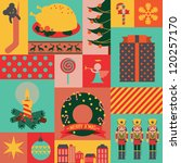Christmas retro icons vector, elements and illustrations wallpaper template - stock vector