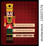 Christmas retro nutcracker and crystal ball vector/ illustrations wallpaper template - stock vector