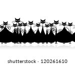 Crowd of black cats, seamless pattern for your design - stock vector