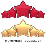 Five star service gold red golden award success decoration abstract. Best top excellent quality business rating trophy icon concept. Detailed 3d rendering. Isolated on white background. - stock photo