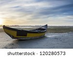 Old Wooden Boat In The Dry Tide