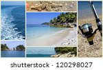 Collage of beautiful Greek beaches - stock photo
