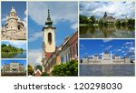 Collage of historical  places in Budapest city, Hungary - stock photo