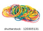 colorful rubber bands on white background - stock photo