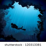 Coral reef with silhouette of diver on blue sea background - stock vector