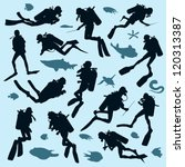 Set of diver silhouettes and fish - stock vector