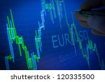 Data analyzing in forex market: the charts and quotes on display. Analytics in pairs EUR / USD - stock photo