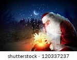 santa with beard and red hat... | Shutterstock . vector #120337237