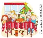 christmas dinner. big happy... | Shutterstock .eps vector #120344263