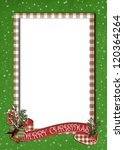 Christmas banner with bird on plaid frame - stock photo