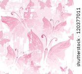 Seamless pink grunge pattern with translucent butterflies (vector EPS 10) - stock vector