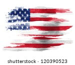 The Usa Flag Painted On White...