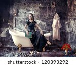 vintage woman and bathtub in grunge interior (photo compilation) - stock photo