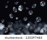 falling 3d diamonds on black... | Shutterstock . vector #120397483