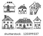 Cartoon hand drawing houses - stock vector