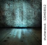 Stone wall and floor,with mysterious blue glowing light - stock photo