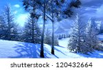 Christmas, magical forest - artwork - stock photo