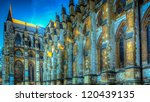 HDR image of side view of Westminster Cathedral - stock photo