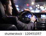 businessman driving a car at... | Shutterstock . vector #120451057