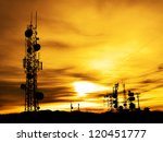Several Radio Towers With...