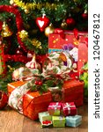 Christmas Tree and Christmas gift boxes - stock photo