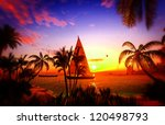 Hawaiian paradise at awesome sunset - stock photo