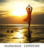 silhouette of a beautiful yoga... | Shutterstock . vector #120505183