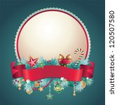 vintage Christmas round banner ribbon - stock vector