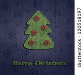Christmas Tree On Linen Texture