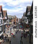 shoppers in chester england | Shutterstock . vector #1205280
