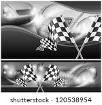 Two crossed checkered flags on auto background, vector illustration - stock vector