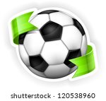 Black and white leather football (soccer) ball with green ribbon, vector illustration - stock vector