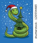 Snake with Christmas hat and tree, the symbol of New Year.  Vector version is also available - stock photo