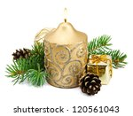 Christmas decoration with golden candles, pine cones, spruce branches on white background - stock photo
