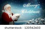 Santa Claus Blowing   Merry...