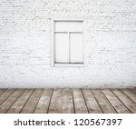 Brick Wall With Wood Window...