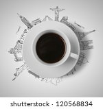cup of coffee  traveling concept - stock photo