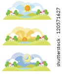 3 natural landscape on various time of the day, create by vector - stock vector