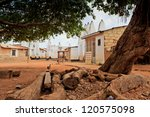 Traditional West African square - wide angle,  in Wa, Ghana - stock photo